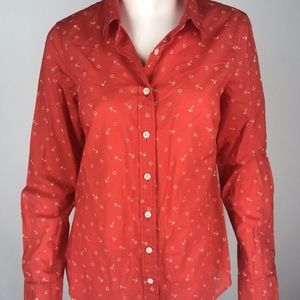 J.Crew Classic Button Front Printed Perfect Shirt